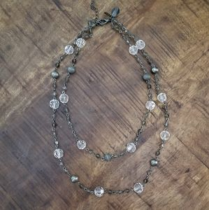 WHBM Clear Silver beaded double strand necklace